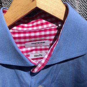 Isaac Mizrahi Slim Fit Contrast Cuff Shirt